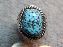 Mens Black Spiderweb Turquoise Sterling Ring Navajo Charles Charley size 9 1/8