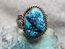 New Mens Black Spiderweb Turquoise Sterling Ring Navajo Russel Sam Size 13 3/4