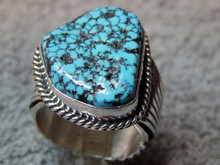 New  Mens Black Spiderweb Turquoise Sterling Ring Navajo Russel Sam Size 13 1/2