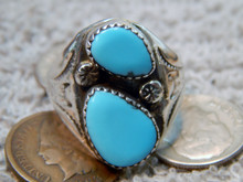 New Mens  Silver Turquoise Ring Navajo Mary Lincoln Size 10 1/4
