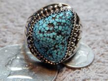 Mens Black Spiderweb Navajo Turquoise Sterling Ring Lorenzo James size 14 1/4