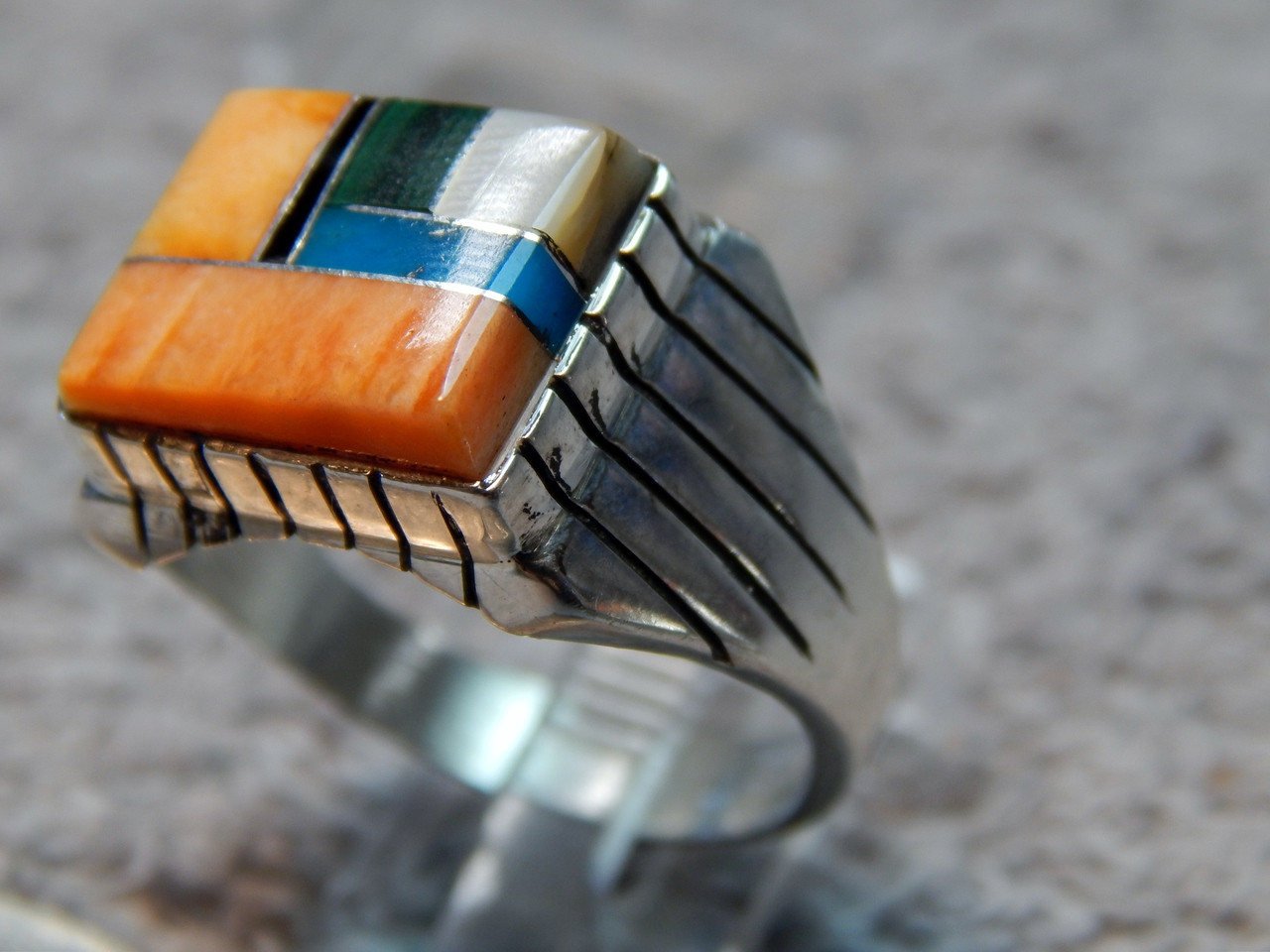 Men S New Turquoise Spiny Oyster Inlay Ring Ray Jack Size