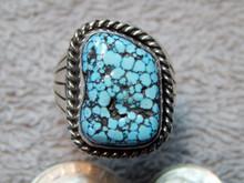 Mens Black Spiderweb Turquoise Ring Navajo Charles Charley Size 10 1/4