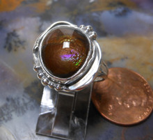 New Sterling Silver and 5.9ct Fire Agate Gem ring size 7 1/3