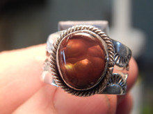 Unisex Sterling Fire Agate Ring Navajo Lorenzo James Size 10 3/8 New
