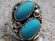 Mens Sterling Silver Turquoise Ring Navajo Mike Thomas Size 13 3/4 New
