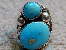 Mens Sterling Silver Turquoise Ring New Navajo Mike Thomas Size 10 7/8