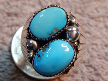 Mens Sterling Silver Turquoise Ring New Navajo Mike Thomas Size 13 1/2