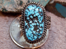 Mens Black Spiderweb Turquoise Sterling Ring Navajo Charles Charley Size 15
