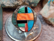 Mens Sterling Silver Spiny Oyster Inlay Navajo Ring New Ray Jack Size 12