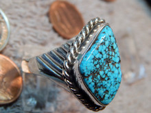Mens Sterling Silver Ring 13.40 ct Black Spiderweb Turquoise Gem size 14 1/4