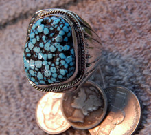 Mens New Black Spiderweb Turquoise Sterling Ring Navajo Russel Sam Size 12 1/4