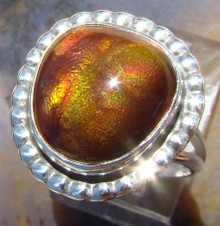 New Sterling Silver and Fire Agate Gem ring size  5 2/3         ape91