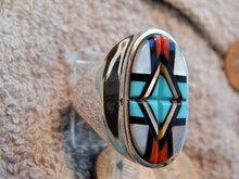 New Zuni Mens Ring  Sterling Turquoise Coral Inlay  Yelmo Natachu size 11 3/4