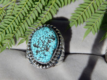 Mens Large Sterling  Black Spiderweb Turquoise Ring Navajo L  James size 14 1/4