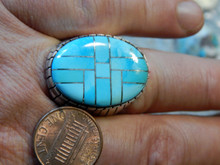 Mens Kingman Turquoise Sterling Silver Inlay Ring Ray Jack Size 13 1/4