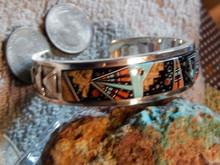 Sterling Silver Night Sky & Geo Designs micro Inlay Bracelet Navajo Calvin Begay