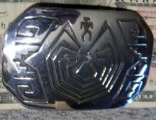 New Sterling Silver Overlay Man in Maze Belt Buckle  Hopi Artist Adrian Sanchez