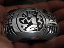New Sterling Silver Overlay Flute Dancer Belt Buckle Hopi Artist Adrian Sanchez