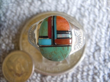 Light  Weight Mens Ring Sterling Turquoise Spiny Inlay Navajo Mary L size 12 3/4