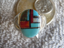 Light Weight Mens Ring Sterling  Turquoise Spiny Inlay Navajo Mary L size 10 1/2