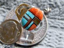 Light Weight Mens  Ring Sterling Turquoise Spiny Inlay Navajo Mary L Size 9 3/4