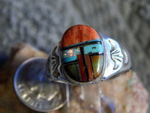 Light  Weight Mens  Ring Sterling Turquoise Spiny Inlay Navajo Mary L Size 12