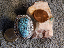 Mens New Black Spiderweb Turquoise Sterling Ring Navajo Russel Sam Size 8 1/2