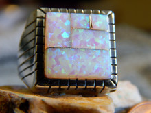 New Mens Sterling Silver Created Opal Inlay Ring by Navajo Ray Jack size 11 1/4