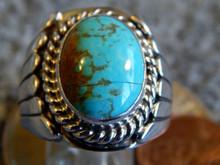Mens New Sterling Kingman Turquoise Ring Navajo Lorenzo James  Size 8 1/4