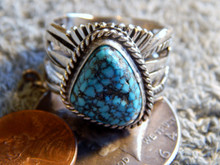 Mens Black Web Turquoise Sterling Silver Ring by Navajo Russel Sam Size 14