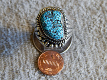 Mens Black Spiderweb Turquoise Sterling Ring Navajo Robert Shakey Size 14 1/4