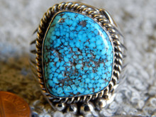 Mens Black Spiderweb Turquoise Sterling Ring Navajo Robert Shakey Size 13 1/4