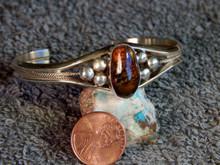 New Sterling  Silver Fire Agate Gemstone Ladies Bracelet By Navajo Harold Tahe