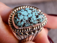 Mens Black Spiderweb Turquoise Sterling Ring Navajo Lorenzo James Size 12 1/4