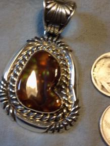 Large New  Sterling Silver Fire Agate  Pendant by Navajo Robert Shakey