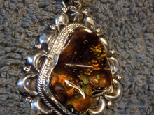 New Sterling  Silver Repoussé  Fire Agate Pendant Navajo Lorenzo James