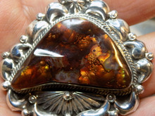 New Sterling Silver Fire Agate Repoussé Pendant Navajo Lorenzo James