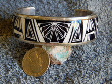 New Sterling Silver Jet White Buffalo Bracelet By Navajo Thomas Francisco