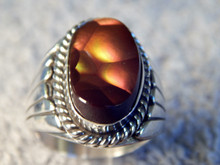 New Mens Sterling Silver Fire Agate Ring By Navajo Lorenzo James Size 11