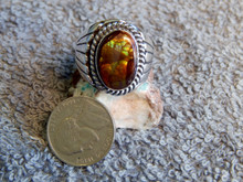New Mens Sterling Silver Fire Agate Ring By Navajo Lorenzo James Size 9 3/4