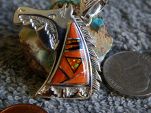 New Sterling Spiny Jet Created Opal Horse Head Pendent By Navajo Calvin Begay