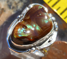 New Sterling Silver and Fire Agate Gem ring size  8 1/2       D52