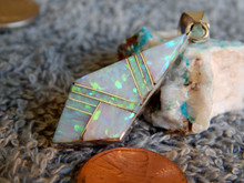 New Sterling Silver Created Opal Inlay Pendant Navajo Arnold Yazzie