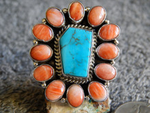 Sterling Silver  Bisbee Turquoise Spiny Oyster Ring Navajo Russell Sam sz 7 1/4