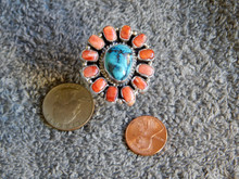 Sterling Silver & Bisbee Turquoise Spiny Oyster Ring Navajo Russell Sam sz 7 1/4