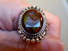 Mens Fire Agate Sterling Silver Ring by Navajo Russel Sam Size 10