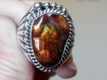 New Mens Fire Agate Sterling Silver Ring by Navajo Russel Sam Size 14 1/2