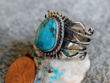 Bisbee Turquoise Sterling  Silver Unisex Ring by Navajo Russel Sam Size 10 1/4