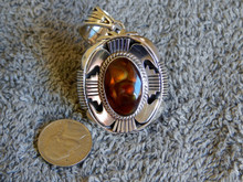 New Sterling Silver Fire Agate Pendant By Navajo Russel Sam